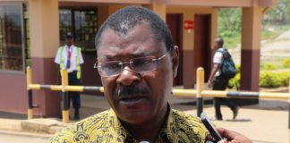 Bungoma Senator Moses Wetangula addressing the press outside Malaba Custom offices