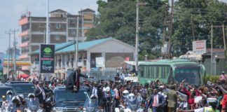 President Uhuru Kenyatta in Kakamega during the Mashujaa Day celebrations. (PHOTO/PSCU)