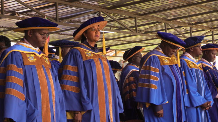Education CS Amina Mohamed with Kibabii University board chair Dr. Ernest Mwangi and Prof. Odeo Ipara