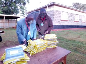 Centre Managers picking exam KCSE papers in Webuye West at Matisi
