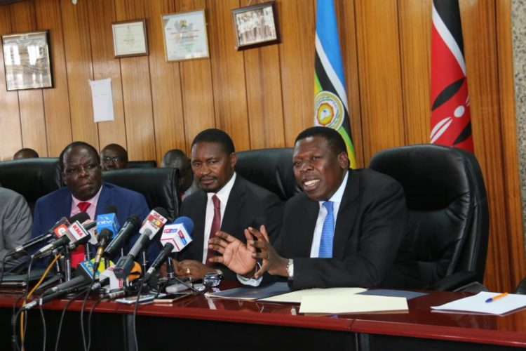 The Sugar Task Force co-chaired by Kakamega Governor Wycliffe Oparanya (far left) and Agriculture CS Mwangi Kiunjuri (second left) shouldn't resort to archaic recommendations to aid the ailing sugar sector
