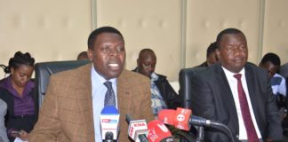 Devolution CS Eugene Wamalwa addressing the press at a past conference