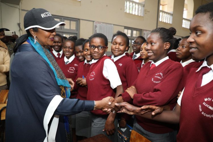 Education CS Amina Mohamed with students at Moi Girls High School in Eldoret