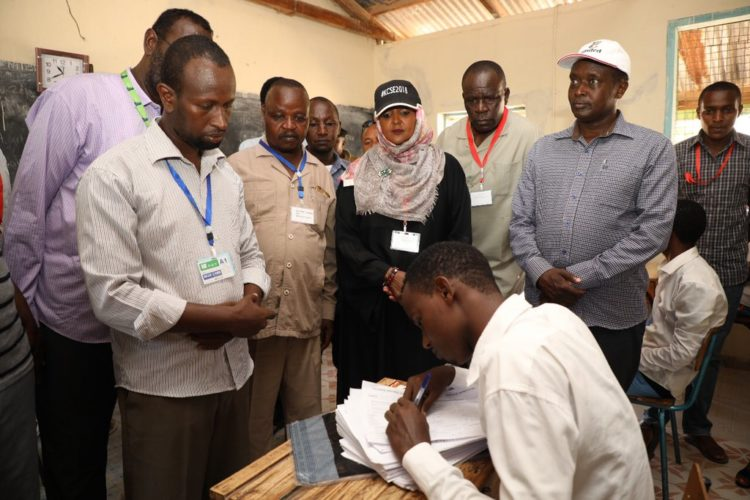 Education CS Amina Mohamed witnessing the issuance of KCSE papers at Garissa High School
