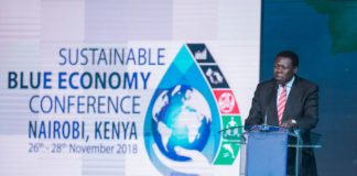 Devolution CS Eugene Wamalwa speaking at the Blue Economy Conference. (PHOTO/PSCU)