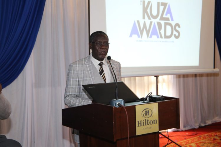 Communications Authority of Kenya Director General Francis Wangusi speaking at the launch of the 3rd Edition of the KUZA Awards
