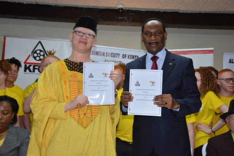 KFCB CEO Dr. Ezekiel Mutua (right) and nominated Senator Isaac Mwaura (left)
