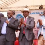 Kakamega Senator Cleophas Malala, Devolution CS Eugene Wamalwa and Sports CS Rashid Echesa at the fundraising
