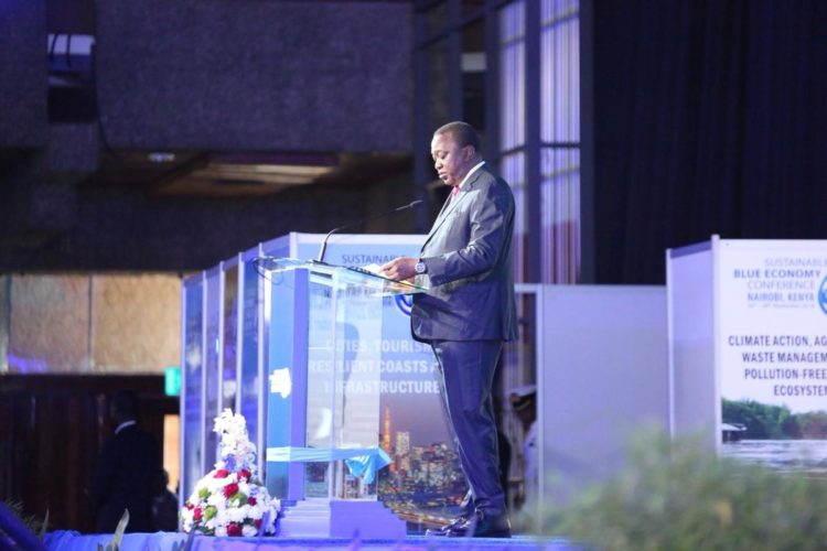 President Uhuru Kenyatta speaking at the inaugural Sustainable Blue Economy