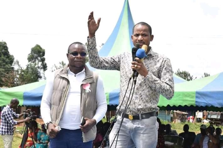 Embakasi East MP Babu Owino addressing Lugari residents