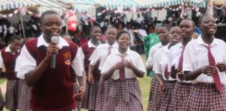 Busia County's Salvation Army Kolanya Girls National School celebrating their 2015 KCSE performance