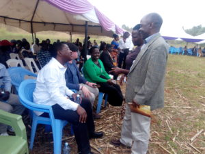 West Media director Cyprian Wekesa talking to Bungoma Senator Moses Wetangula