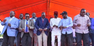 Deputy President William Ruto (centre) revealed the government will set up 5,000 houses in Bungoma