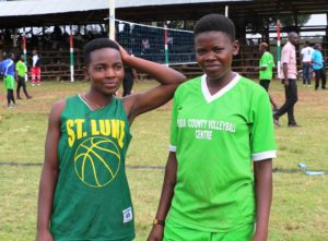 Busia ladies volleyball team duo of Eunice Nyaga (libero) and Millicent Nyakora (right attack) in high spirits in Kapsabet on Wednesday