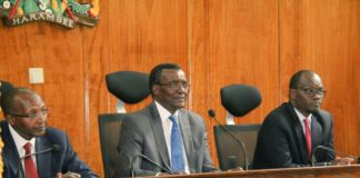Chief Justice David Maraga presiding over the swearing in of the new magistrates