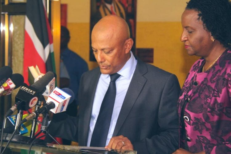 EACC CEO Twalib Mbarak during the swearing in. (PHOTO/OCJ)