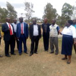 Officials led by the Bungoma Health CEC Anthony Walela at the construction site