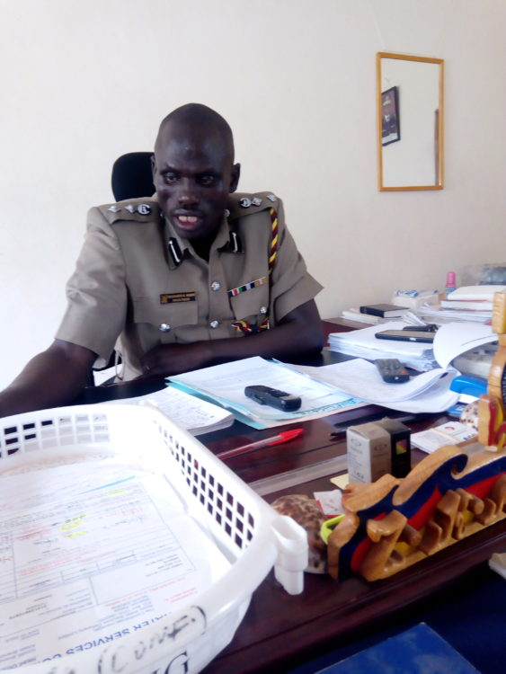 Bungoma East OCPD Zacchaeus Ng'eno speaking in his office
