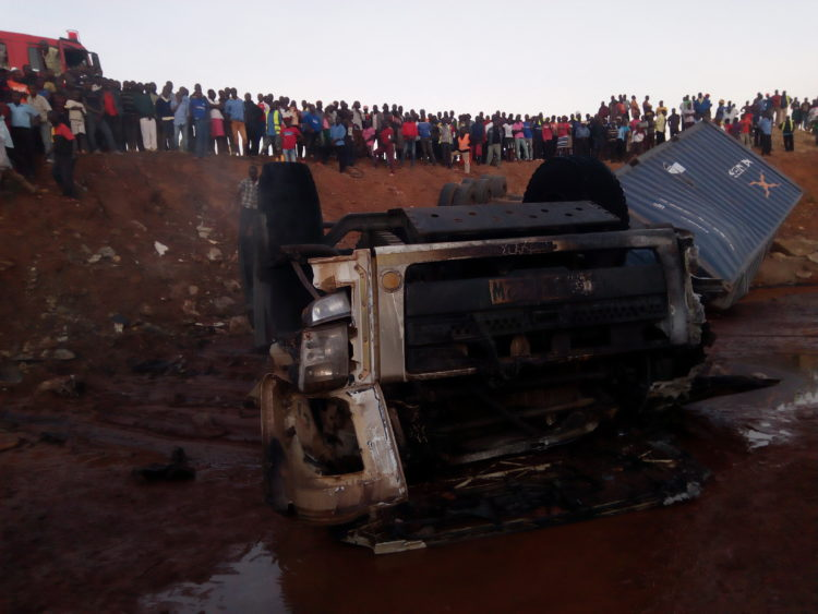 The scene of the accident that happened at Kaburengu on Monday