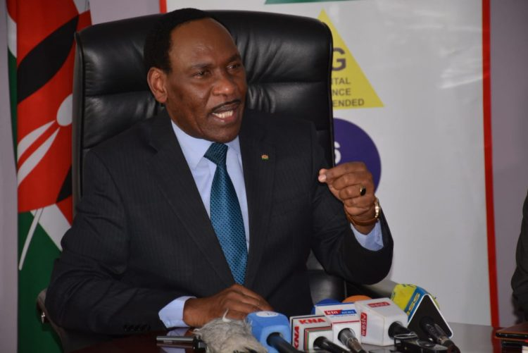 KFCB CEO Ezekiel Mutua speaking to the press