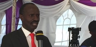 KNUT boss Wilson Sossion speaking at the event