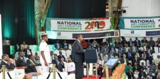 President Uhuru Kenyatta speaking at the National Anti-Corruption Conference. (PHOTO/PSCU)