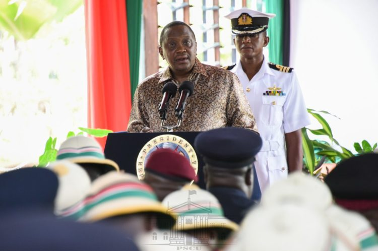 President Uhuru Kenyatta speaking at State House, Mombasa. (PHOTO/PSCU)