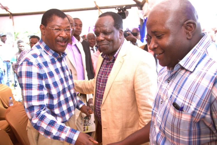 Kakamega Governor Wycliffe Oparanya and Bungoma Senator Moses Wetangula at a past meeting in Kakamega