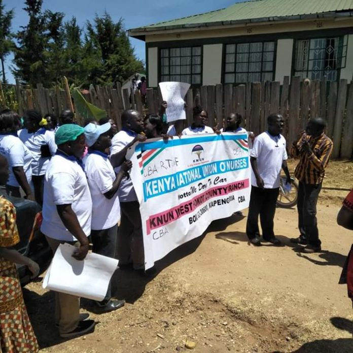 West Pokot nurses during the peaceful demos