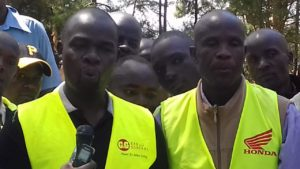 Matulo ward MCA Paul Wanyonyi (left) together with the Matulo ward boda boda chairman addressing media in Webuye town