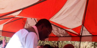 Bungoma Senator Moses Wetangula condoling with the family