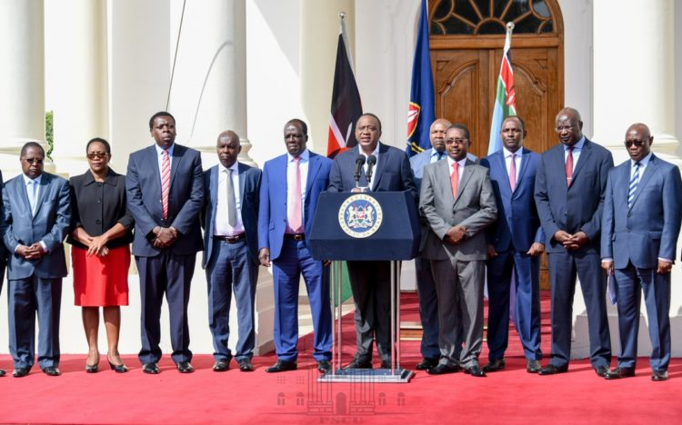 President Kenyatta giving his address at State House. (PHOTO/PSCU)