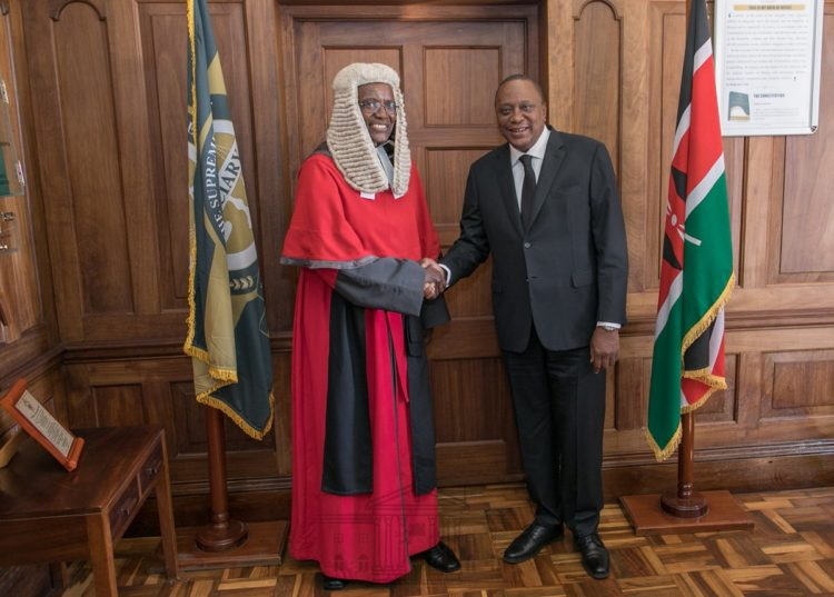 President Uhuru Kenyatta and Chief Justice David Maraga. (photo/pscu)