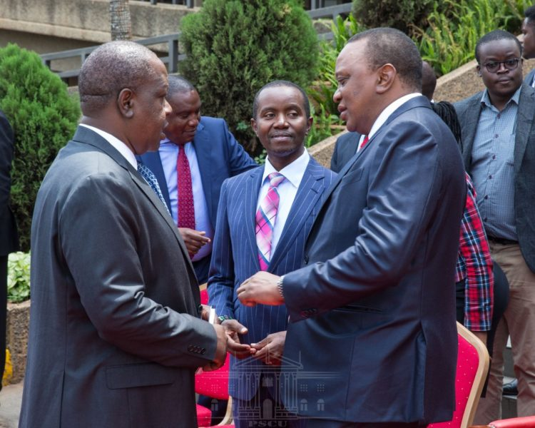 President Uhuru Kenyatta, Interior CS Fred Matiang'i and ICT CS Joe Mucheru at the event. (PHOTO/PSCU)