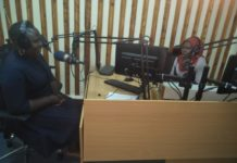 West FM radio presenters Mishi Ziro and Joan Wesakulila during Kata Jasho show