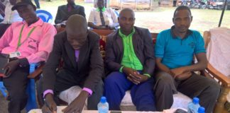 Chairperson Bungoma All in One Gavana Edu second right and Vice chairperson Timothy Wanyonyi second left during the meeting at Buwet, Tongaren