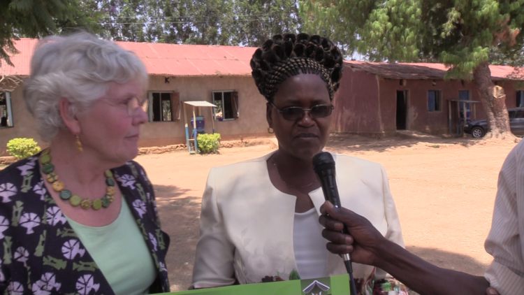 Kitayi primary school headteacher Joyce Khanali with Marrianne Mayers