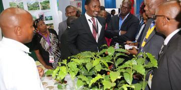 Agriculture CS Mwangi Kunjuri checking the coffee on display at the conference