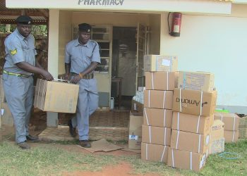 County officials with the packed medical drugs