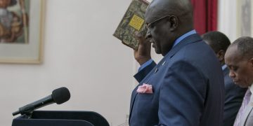 Education CS Prof. George Magoha during his swearing-in at State House. (PHOTO/PSCU)