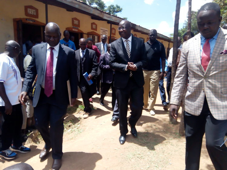 Bungoma Governor Wycliffe Wangamati (centre) arriving at Webuye ACK primary school