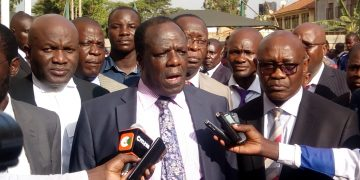 Kakamega County Governor Wycliffe Oparanya addressing the media