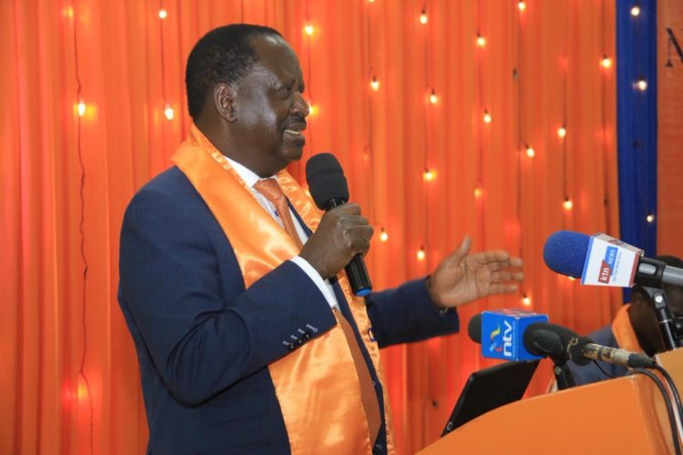 ODM leader Raila Odinga speaking at the ODM party meeting