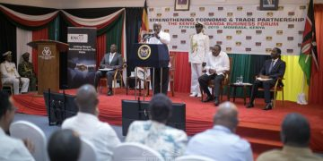 President Museveni speaking during the Kenya-Uganda Business Forum in Mombasa. (PHOTO/PSCU)