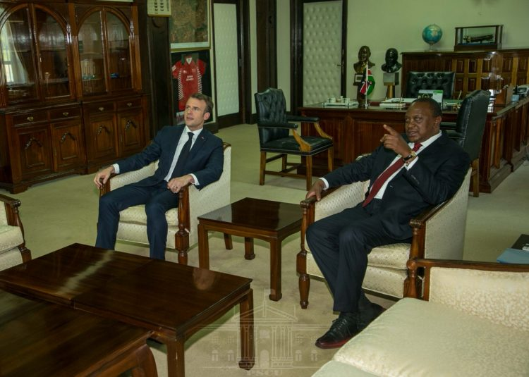 President Uhuru Kenyatta and France President Emmanuel Macron at State House, Nairobi. (Photo/PSCU)