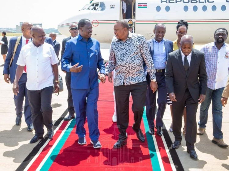 President Uhuru Kenyatta and former Prime Minister Raila Odinga when the Head of State visited Kisumu. (Photo/Pscu)