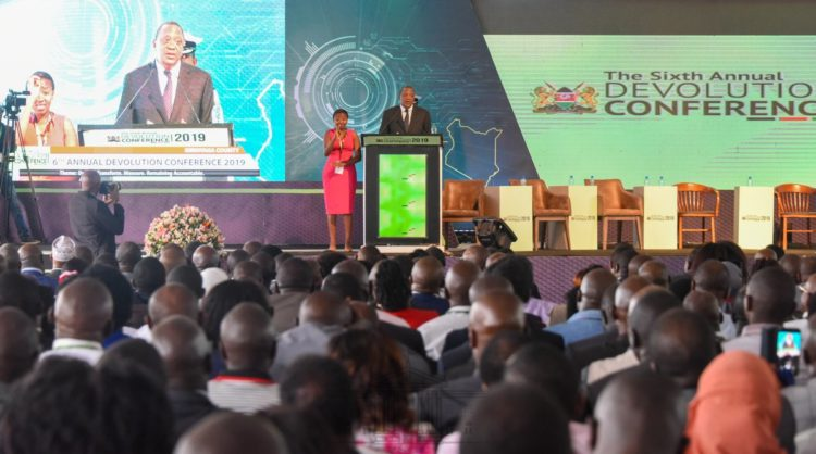 President Kenyatta speaking at the 6th Devolution Conference. (Photo/Pscu)
