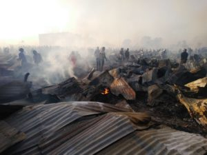 ODM leader Raila Odinga shifted the blame to landgrabbers after the fire incident