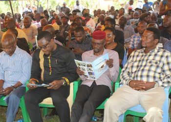 Senate Speaker Ken Lusaka, Kimilili MP Didmus Barasa and Sirisia MP John Waluke at the funeral in Sirisia