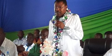 Bungoma Senator Moses Wetangula speaking at the meeting